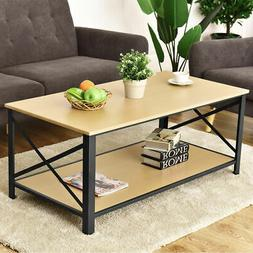 Wood Coffee Table Cocktail Side Accent Table Metal Frame w/