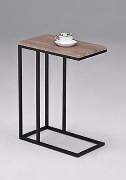 Wood Look Finish Chrome Snack Side End Table Metal & Hardwoo