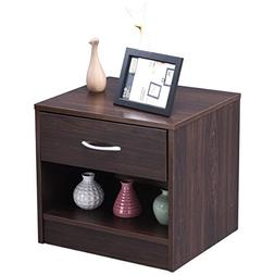Giantex Wood Night Stand End Side Beside Table Storage Displ