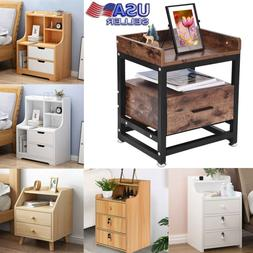 Wood Sofa End Side Bedside Table Nightstand W/1-3*Drawer Sto