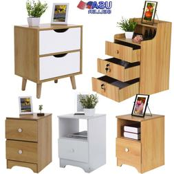 Wood Sofa End Side Bedside Table Nightstand W/1/2/3 Drawer S