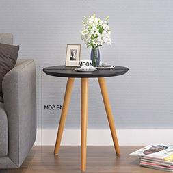 D&L Wood Waterproof Side table, Round End table Nordic Moder