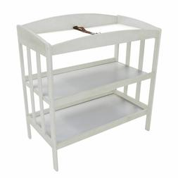wooden changing table with 2 shelves