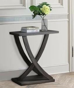Wooden Console Sofa Side End Table with Curved Legs, Distres