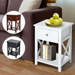 Wooden End Side Bedside Table Nightstand Bedroom Decor w/ Dr