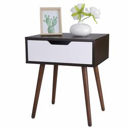 Wooden End Side Table for Small Spaces Nightstand Bedroom wi