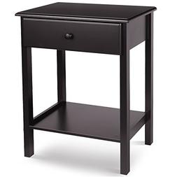 HOMFA Wooden Night Stand with Drawer and Shelf Storage Multi