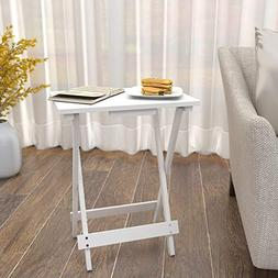 Lifewit Folding Wood TV Tray, Solid Portable Foldable Snack