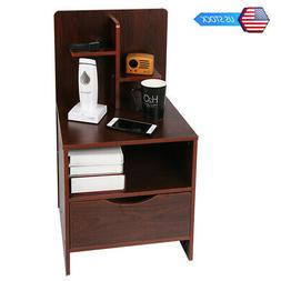 Woodern Bedroom Side Table Nightstand with 1 Drawer and Stor