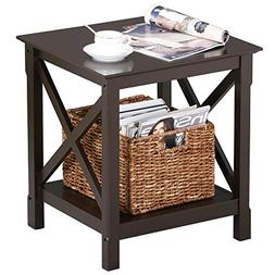 Topeakmart X Design Wood Coffee Side End Table with Storage
