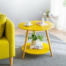 Yellow 2 Tier Sofa Coffee Side Table End Table Round Storage